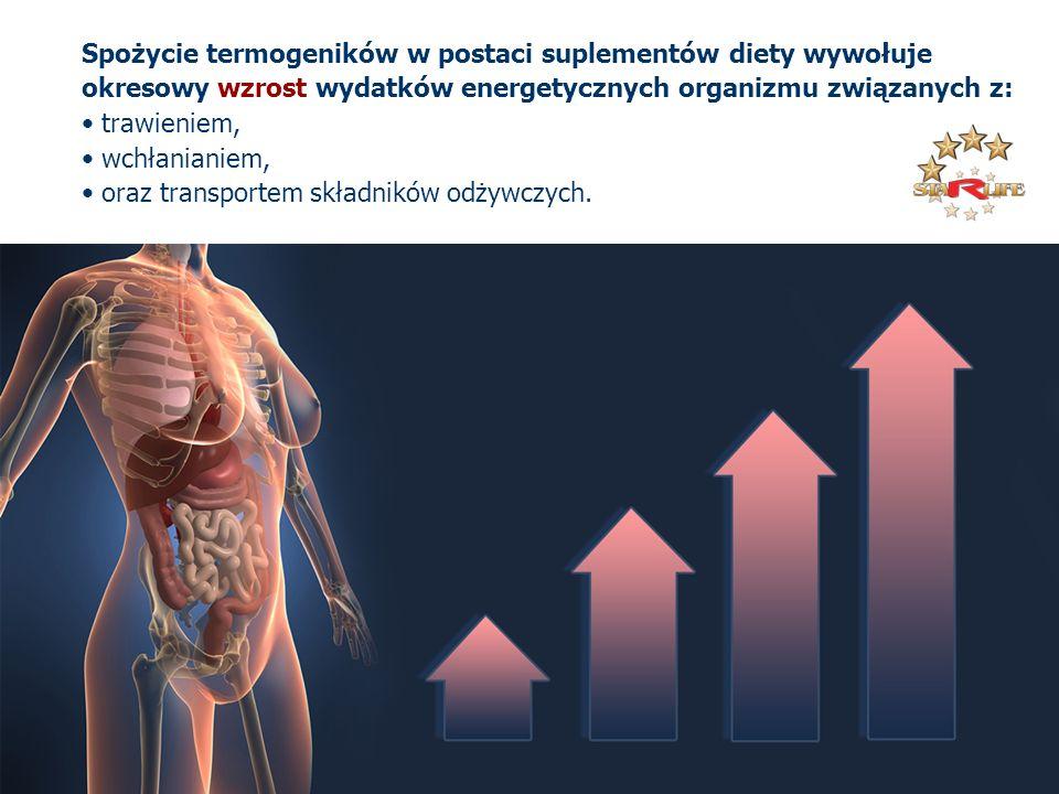 Spożycie termogeników w postaci suplementów diety wywołuje okresowy wzrost wydatków energetycznych organizmu związanych z: