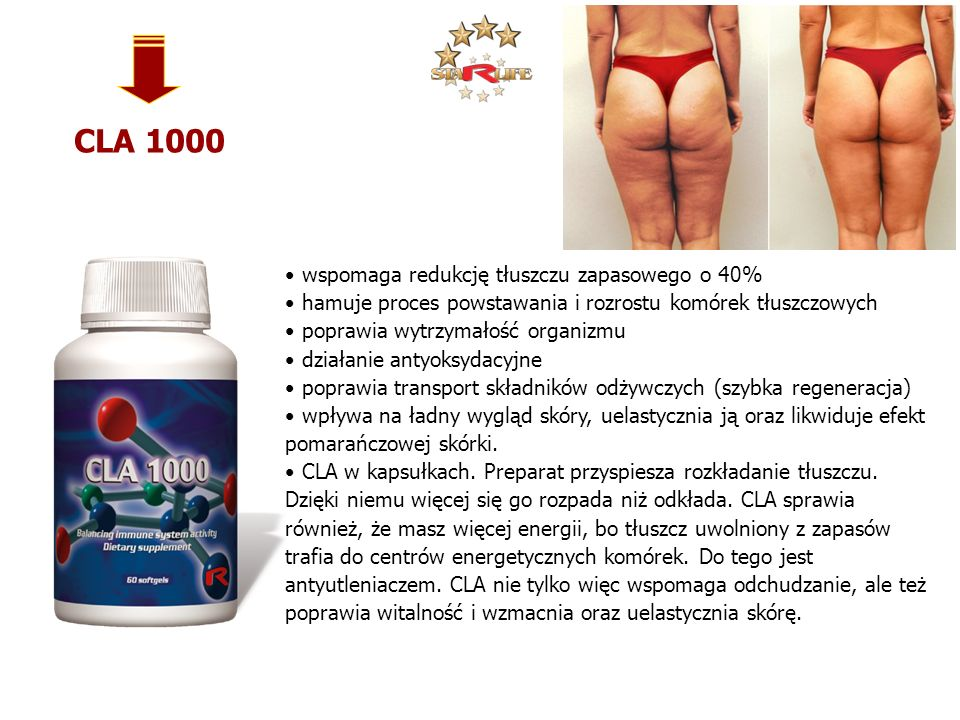 CLA 1000 wspomaga redukcję tłuszczu zapasowego o 40%
