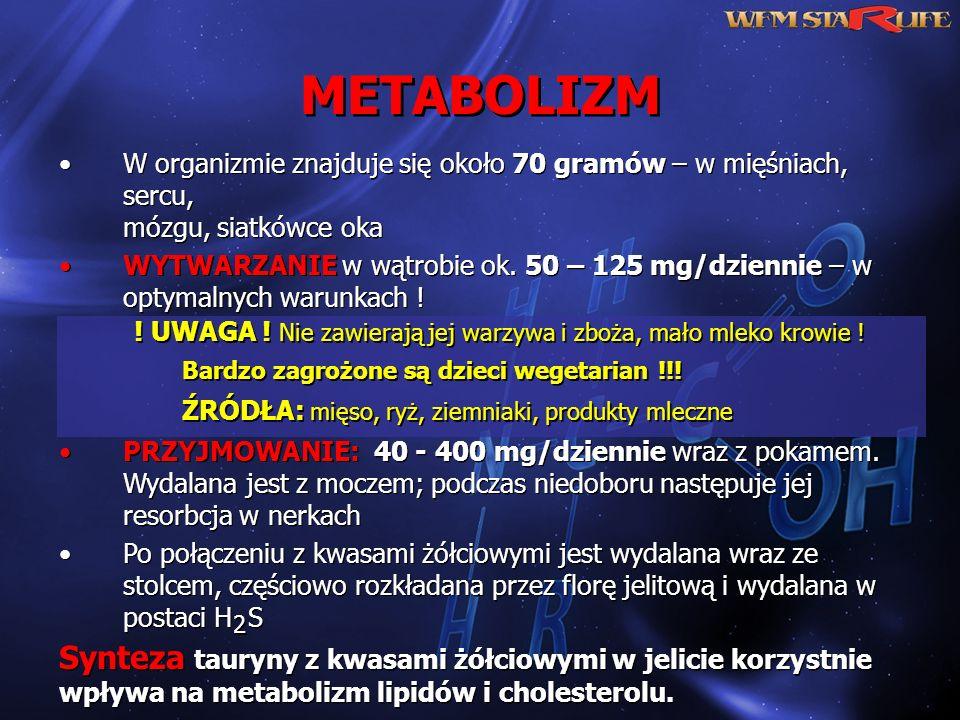 METABOLIZM W organizmie znajduje się około 70 gramów – w mięśniach, sercu, mózgu, siatkówce oka.