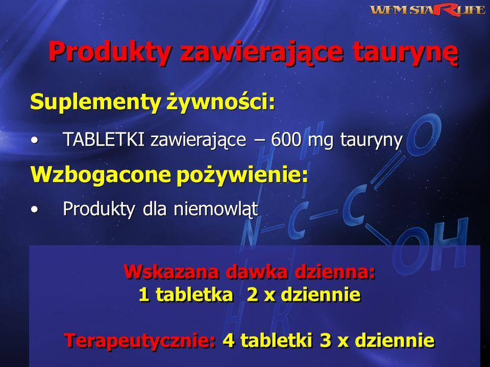 Produkty zawierające taurynę