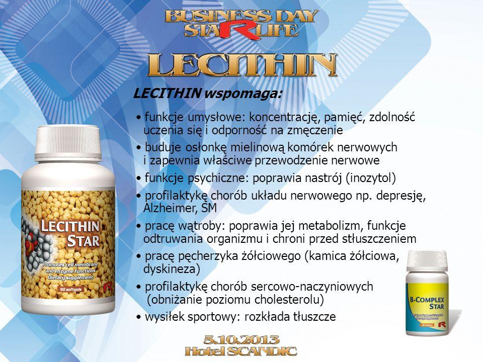 LECITHIN wspomaga: funkcje umysłowe: koncentrację, pamięć, zdolność uczenia się i odporność na zmęczenie.