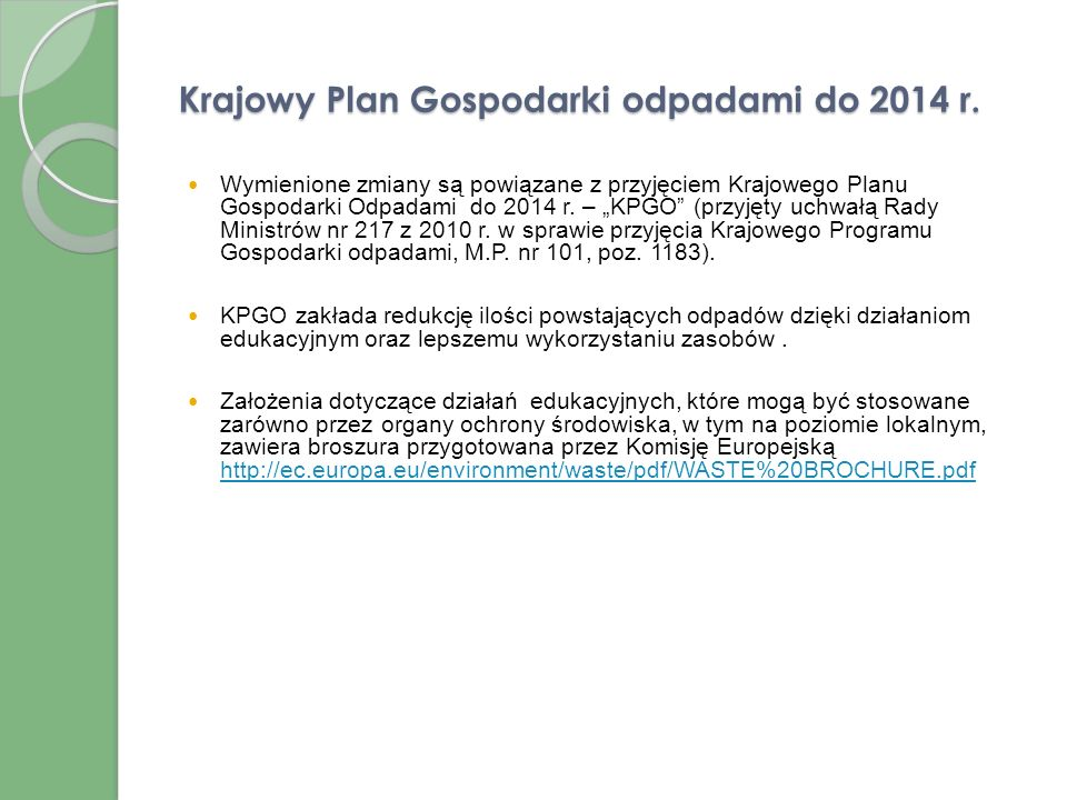 Krajowy Plan Gospodarki odpadami do 2014 r.