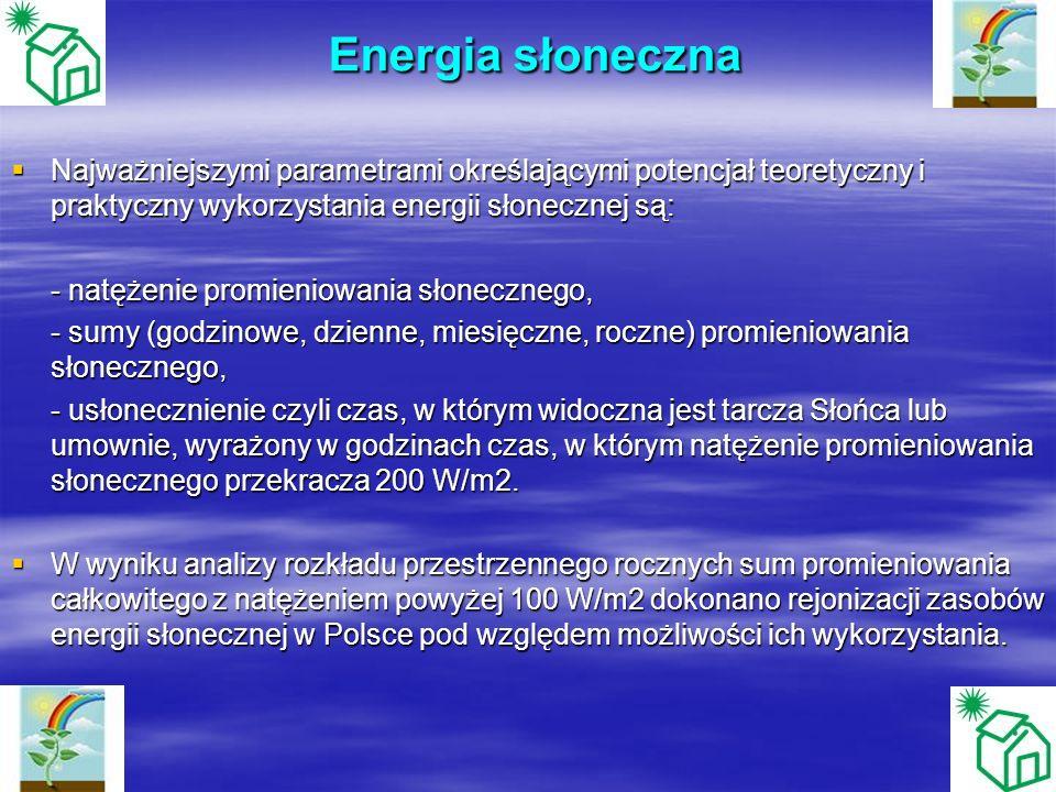 Energia słoneczna Najważniejszymi parametrami określającymi potencjał teoretyczny i praktyczny wykorzystania energii słonecznej są: