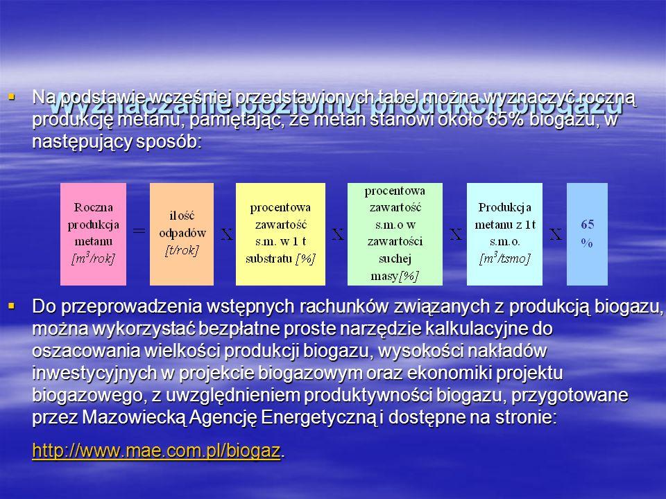 Wyznaczanie poziomu produkcji biogazu
