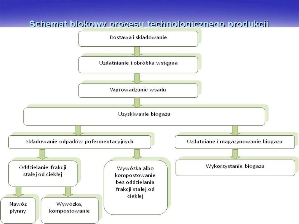 Schemat blokowy procesu technologicznego produkcji biogazu