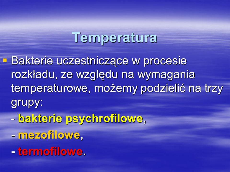 Temperatura Bakterie uczestniczące w procesie rozkładu, ze względu na wymagania temperaturowe, możemy podzielić na trzy grupy: