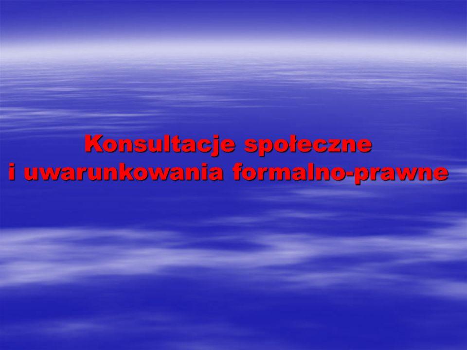 Konsultacje społeczne i uwarunkowania formalno-prawne
