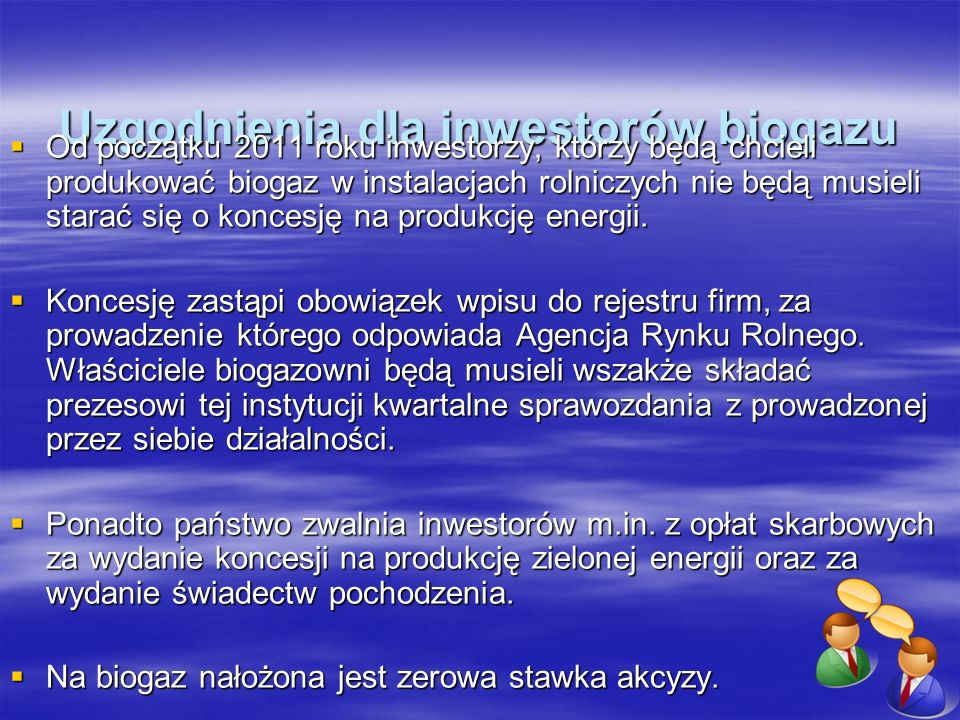 Uzgodnienia dla inwestorów biogazu