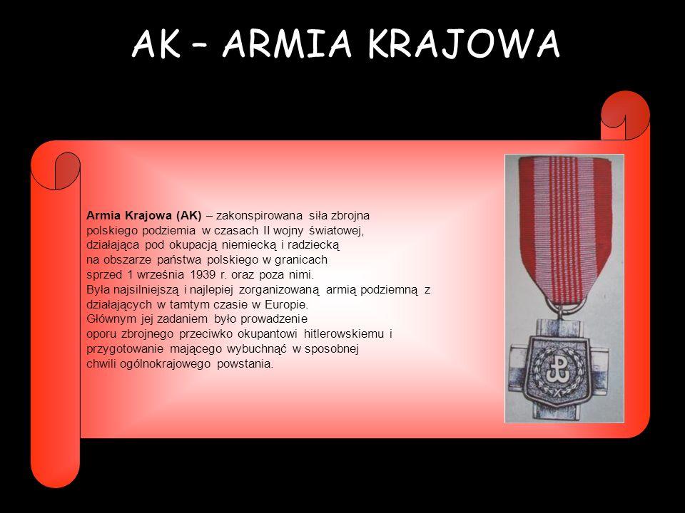 AK – ARMIA KRAJOWA Armia Krajowa (AK) – zakonspirowana siła zbrojna