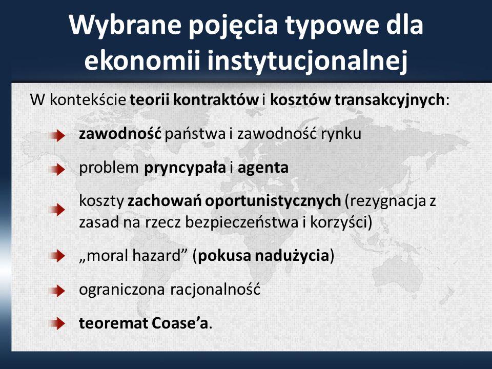 Wybrane pojęcia typowe dla ekonomii instytucjonalnej
