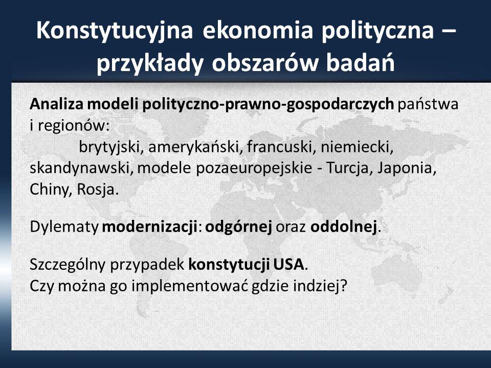 Konstytucyjna ekonomia polityczna – przykłady obszarów badań