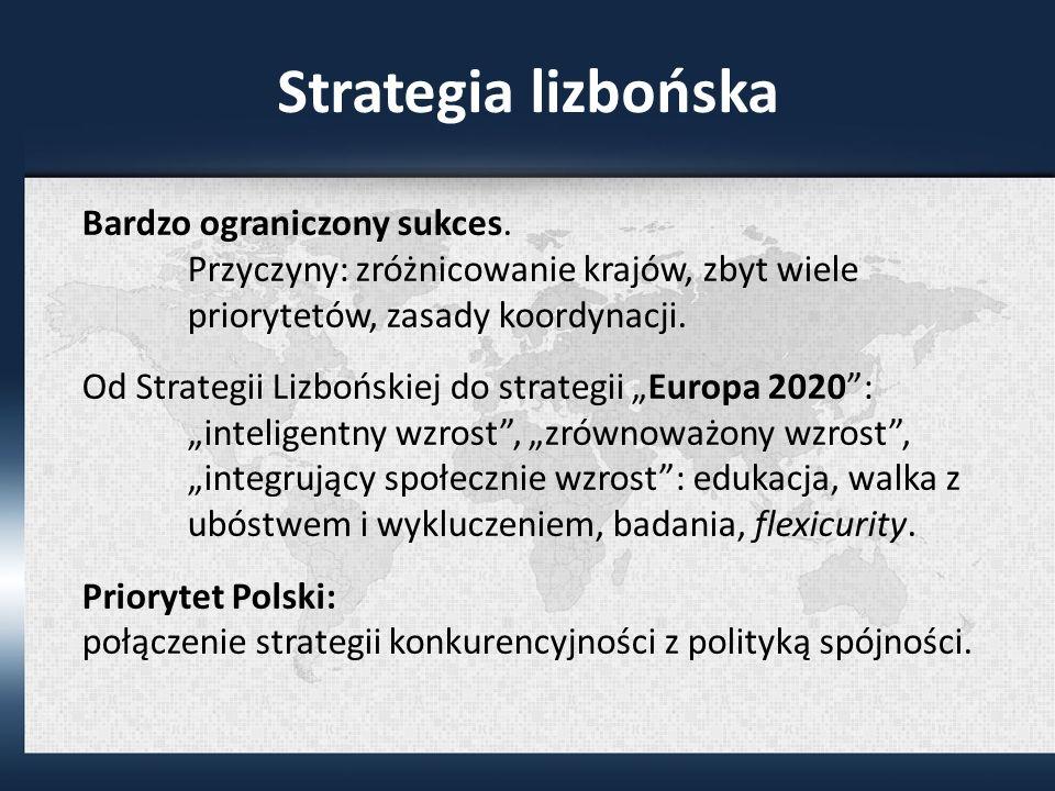 Strategia lizbońska Bardzo ograniczony sukces. Przyczyny: zróżnicowanie krajów, zbyt wiele priorytetów, zasady koordynacji.