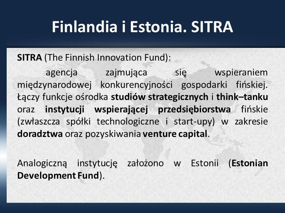 Finlandia i Estonia. SITRA