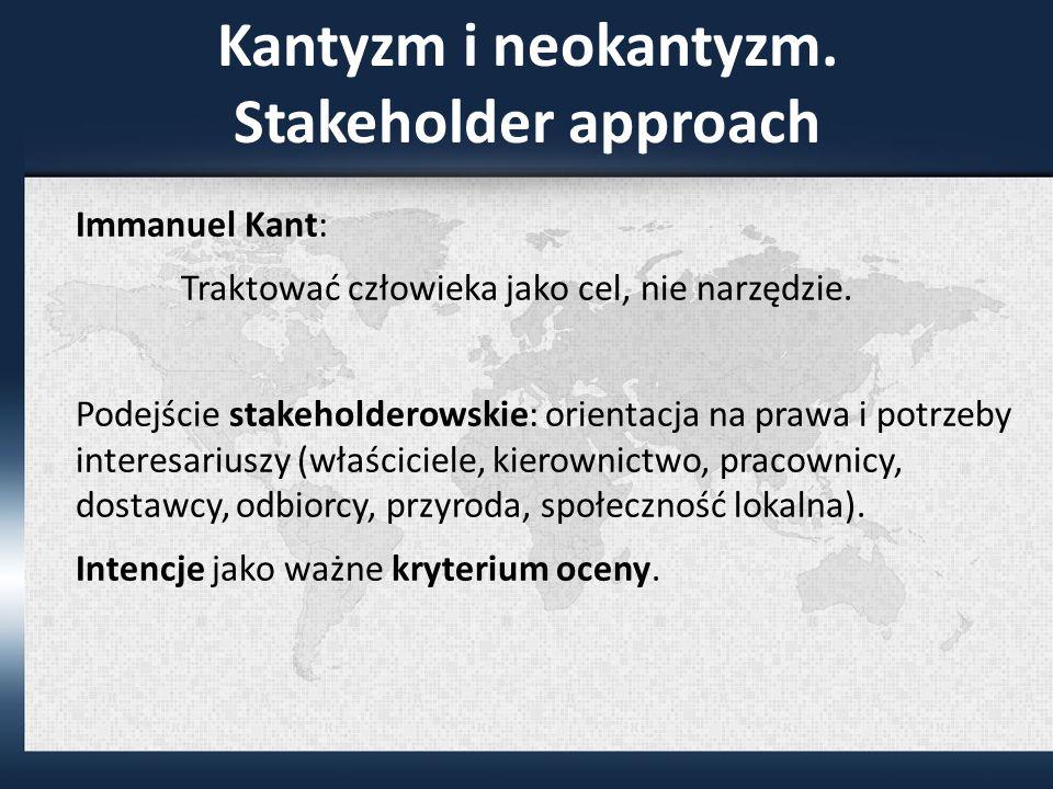 Kantyzm i neokantyzm. Stakeholder approach