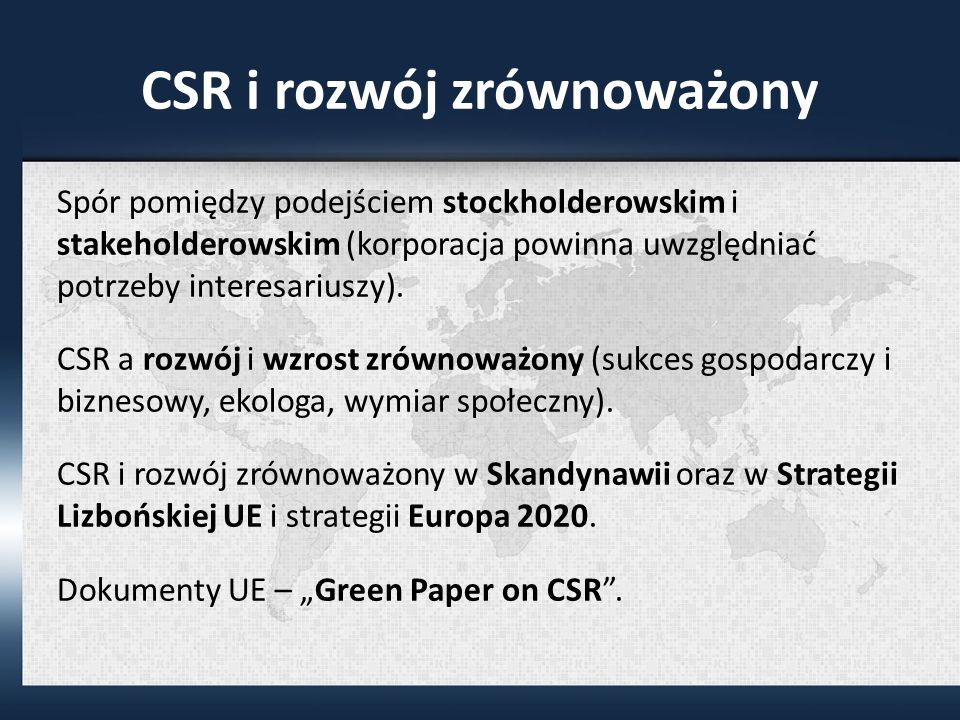 CSR i rozwój zrównoważony