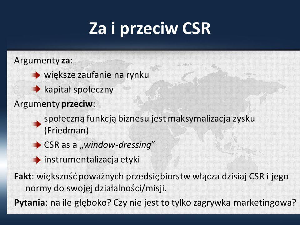 Za i przeciw CSR