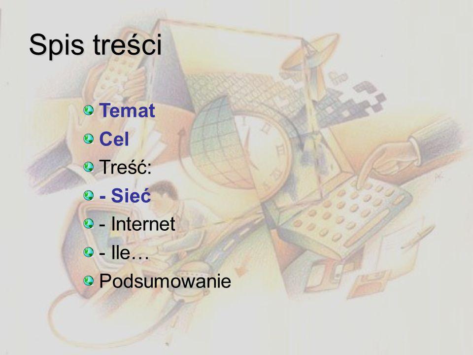 Spis treści Temat Cel Treść: - Sieć - Internet - Ile… Podsumowanie