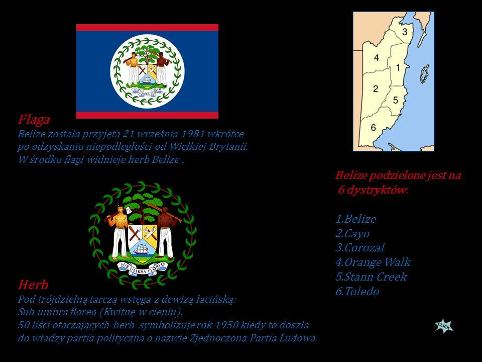 Flaga Herb Belize podzielone jest na 6 dystryktów: 1.Belize 2.Cayo