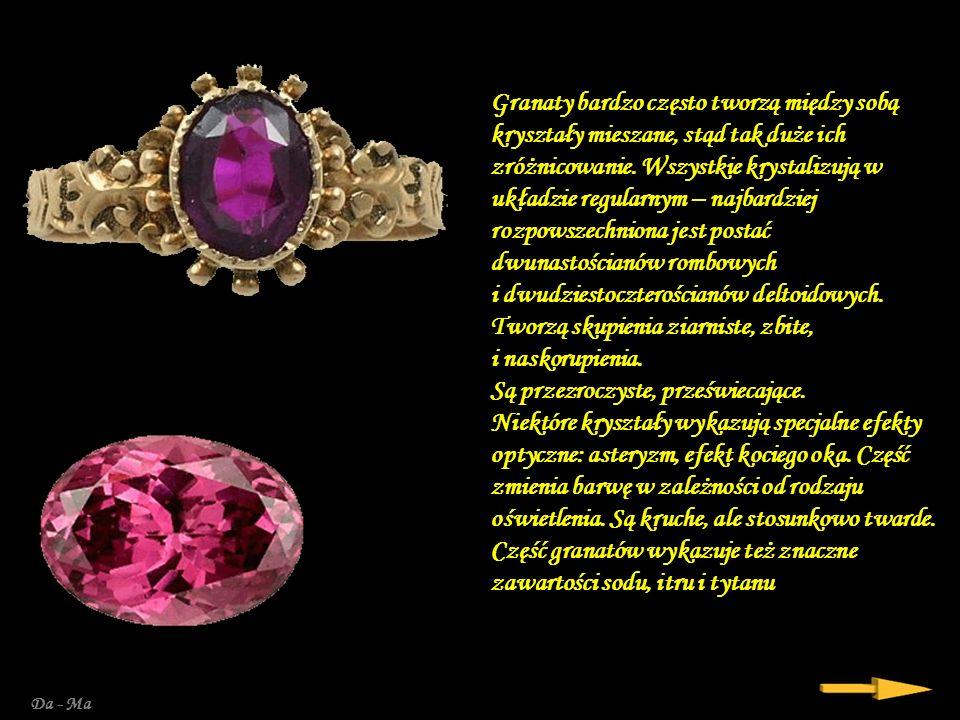 Granaty bardzo często tworzą między sobą kryształy mieszane, stąd tak duże ich zróżnicowanie. Wszystkie krystalizują w układzie regularnym – najbardziej rozpowszechniona jest postać dwunastościanów rombowych i dwudziestoczterościanów deltoidowych. Tworzą skupienia ziarniste, zbite, i naskorupienia. Są przezroczyste, przeświecające. Niektóre kryształy wykazują specjalne efekty optyczne: asteryzm, efekt kociego oka. Część zmienia barwę w zależności od rodzaju oświetlenia. Są kruche, ale stosunkowo twarde. Część granatów wykazuje też znaczne zawartości sodu, itru i tytanu.