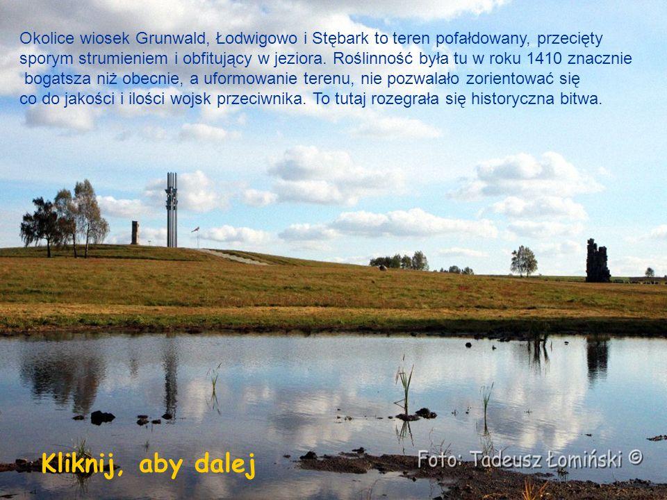 Okolice wiosek Grunwald, Łodwigowo i Stębark to teren pofałdowany, przecięty