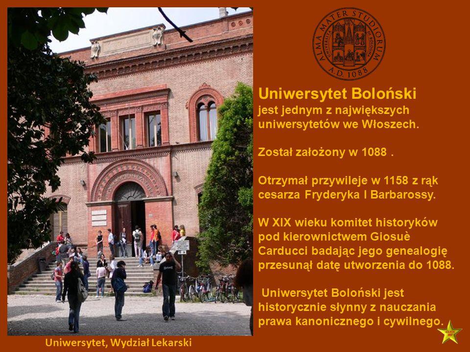 Uniwersytet Boloński jest jednym z największych uniwersytetów we Włoszech. Został założony w 1088 .