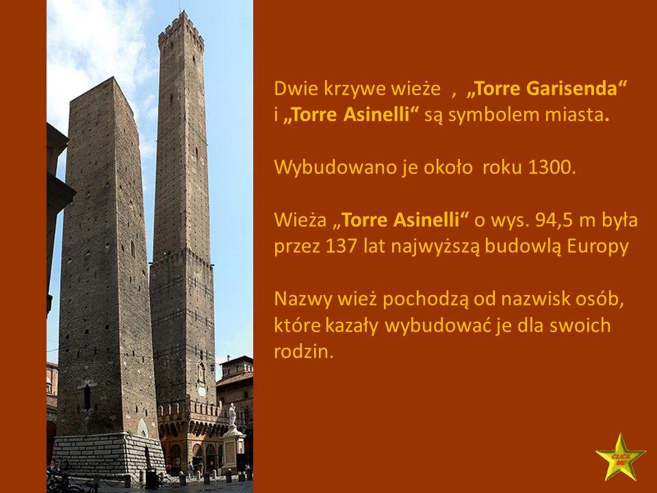 """Dwie krzywe wieże , """"Torre Garisenda"""