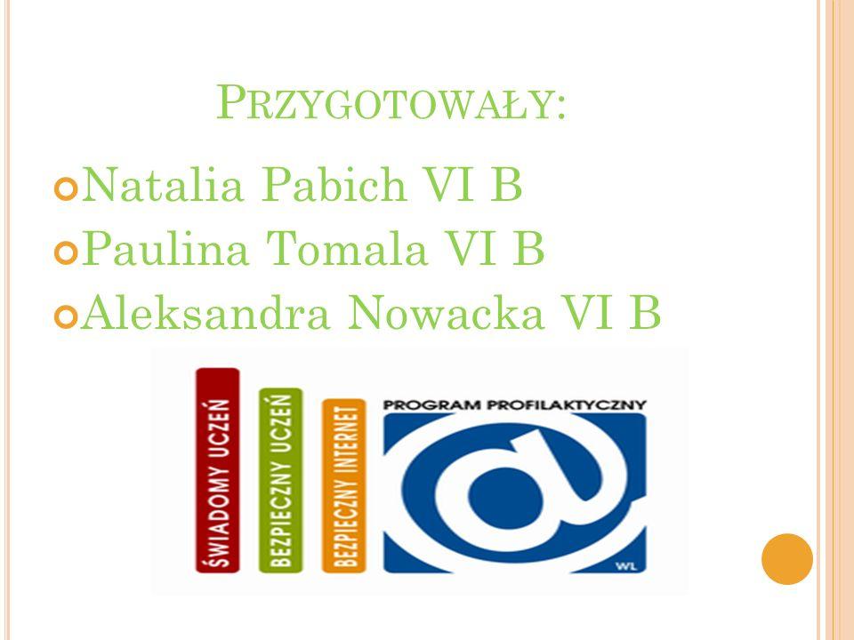 Przygotowały: Natalia Pabich VI B Paulina Tomala VI B Aleksandra Nowacka VI B