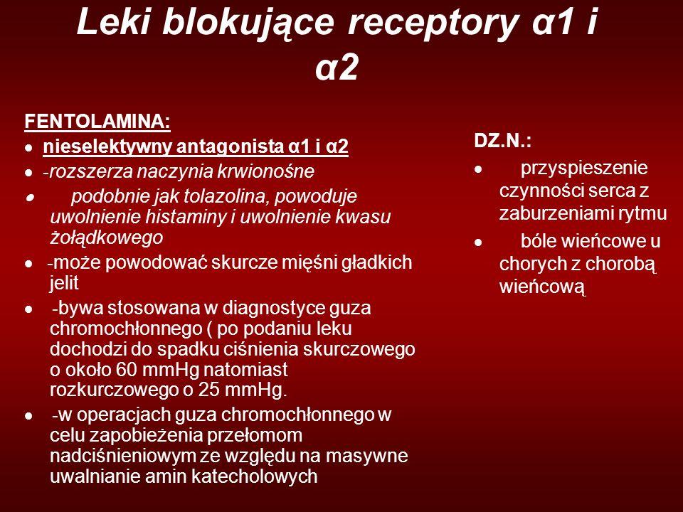 Leki blokujące receptory α1 i α2