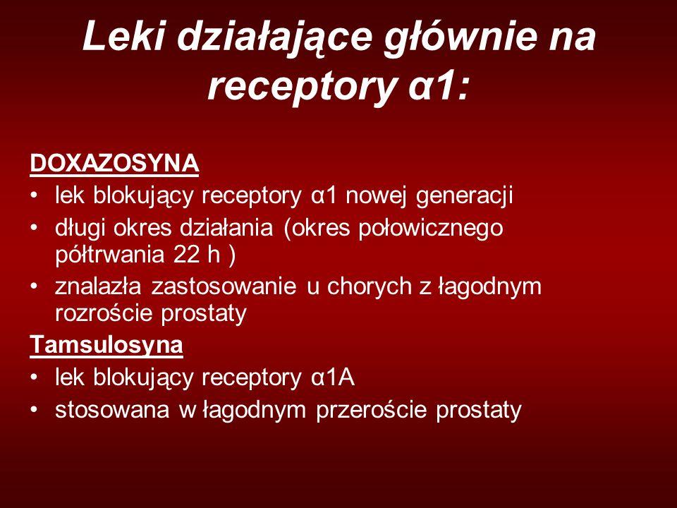 Leki działające głównie na receptory α1: