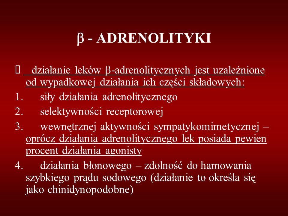  - ADRENOLITYKI è działanie leków -adrenolitycznych jest uzależnione od wypadkowej działania ich części składowych:
