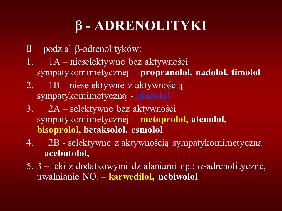  - ADRENOLITYKI è podział -adrenolityków: