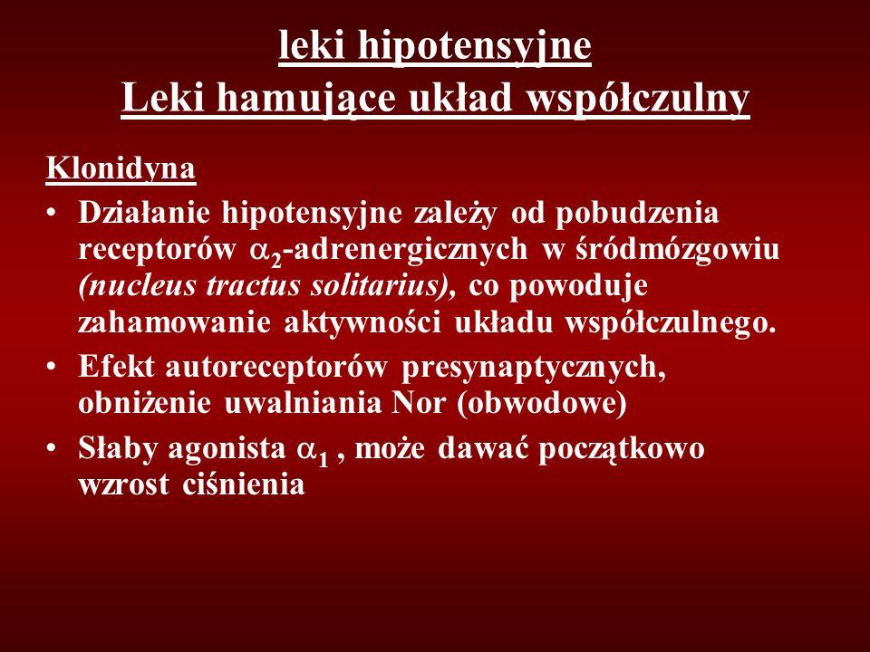 leki hipotensyjne Leki hamujące układ współczulny