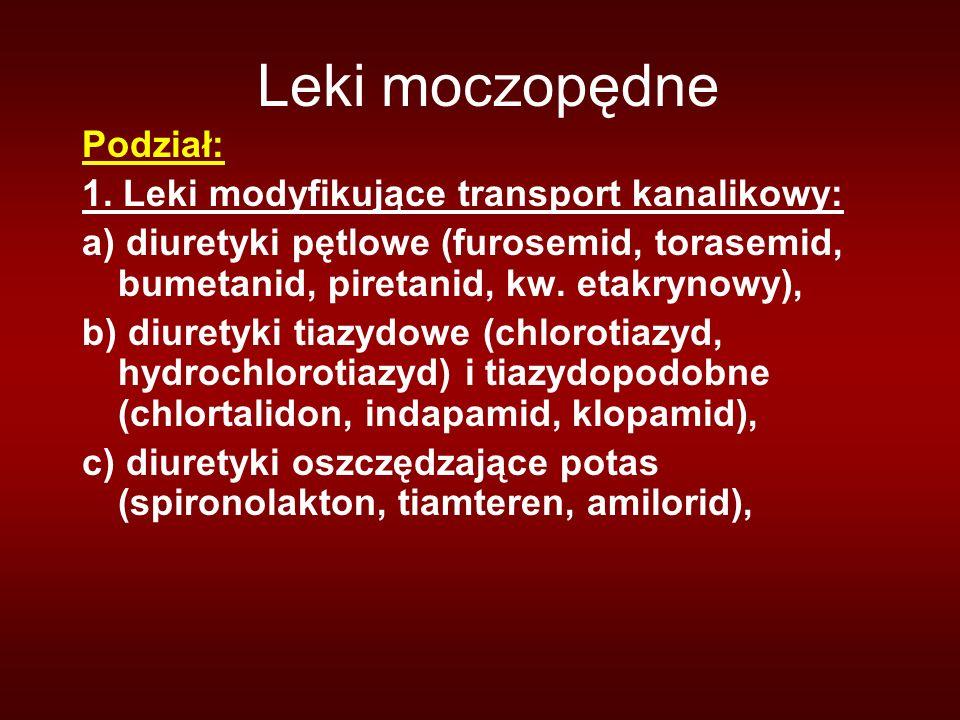Leki moczopędne Podział: 1. Leki modyfikujące transport kanalikowy: