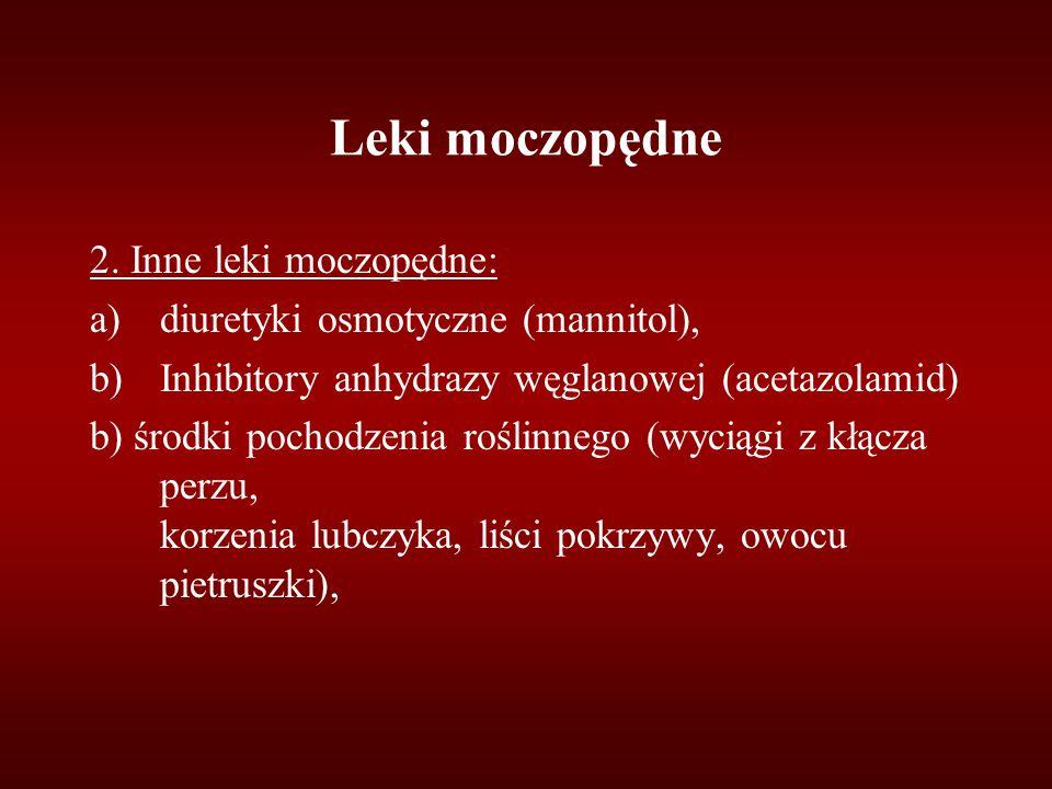 Leki moczopędne 2. Inne leki moczopędne: