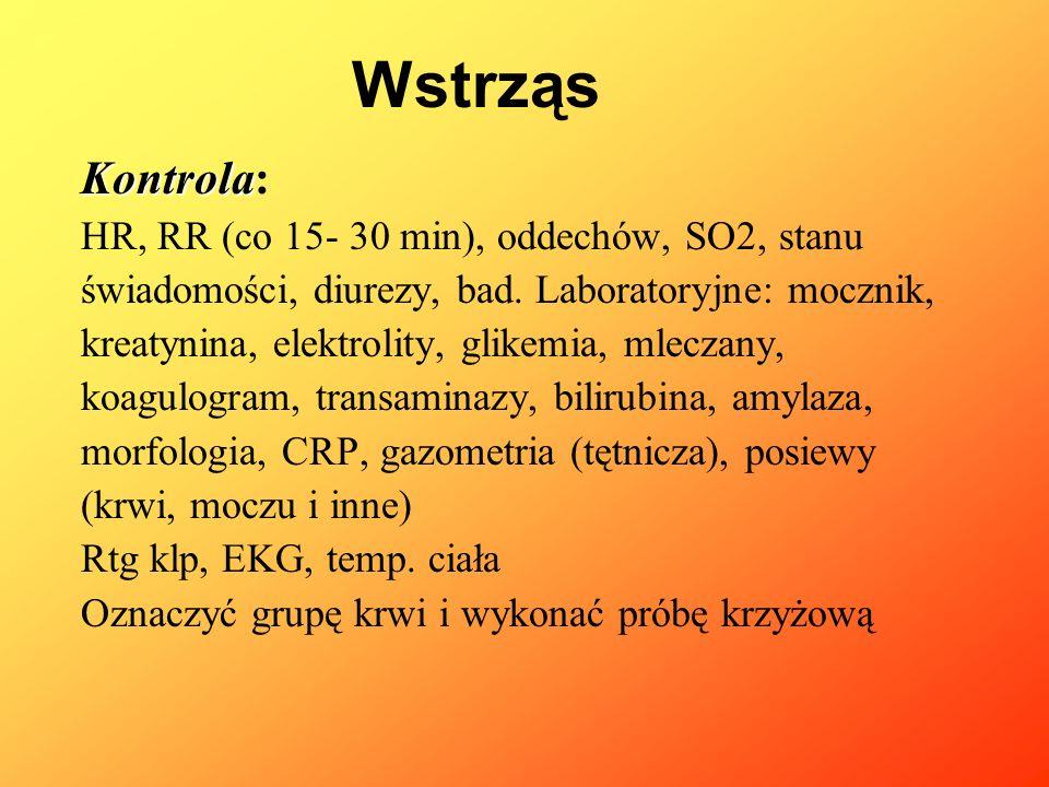 Wstrząs Kontrola: HR, RR (co 15- 30 min), oddechów, SO2, stanu