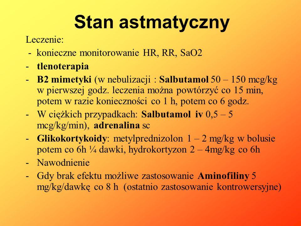 Stan astmatyczny Leczenie: - konieczne monitorowanie HR, RR, SaO2