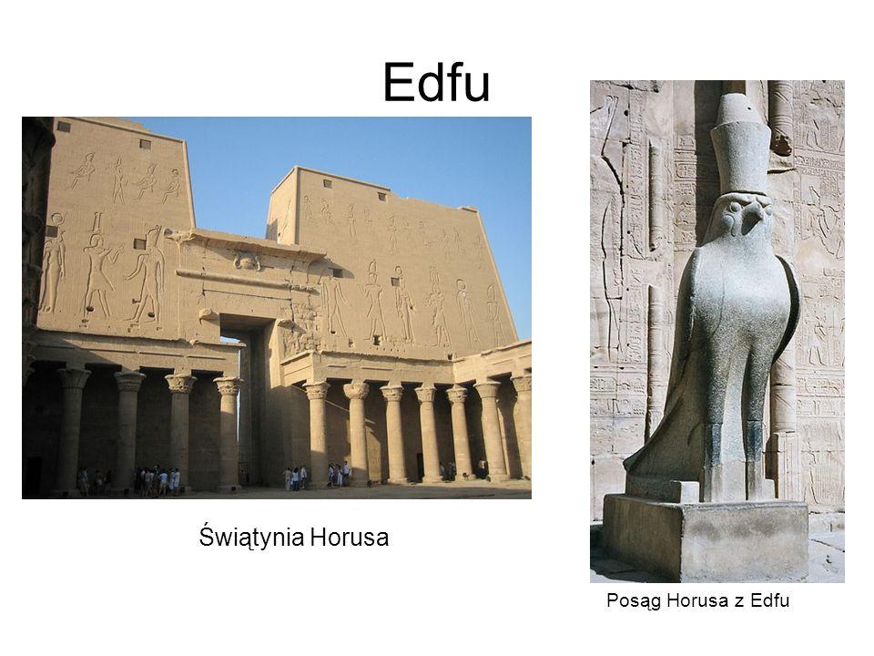 Edfu Świątynia Horusa Posąg Horusa z Edfu