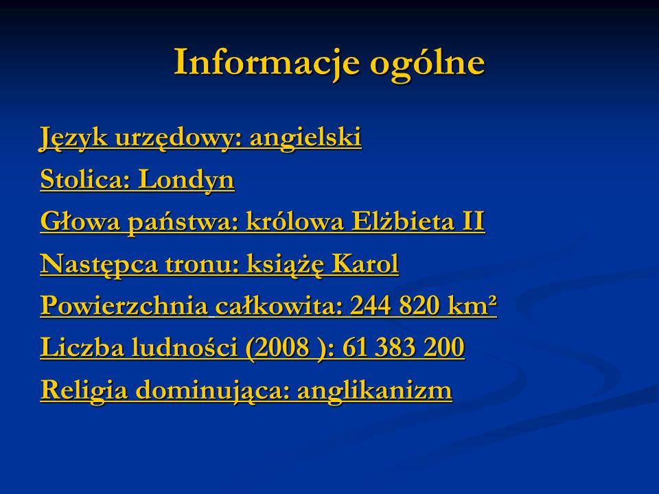 Informacje ogólne Język urzędowy: angielski Stolica: Londyn