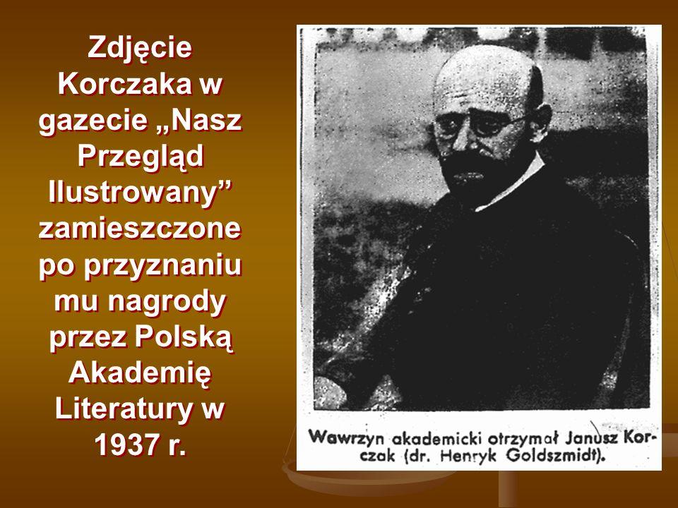 """Zdjęcie Korczaka w gazecie """"Nasz Przegląd Ilustrowany zamieszczone po przyznaniu mu nagrody przez Polską Akademię Literatury w 1937 r."""