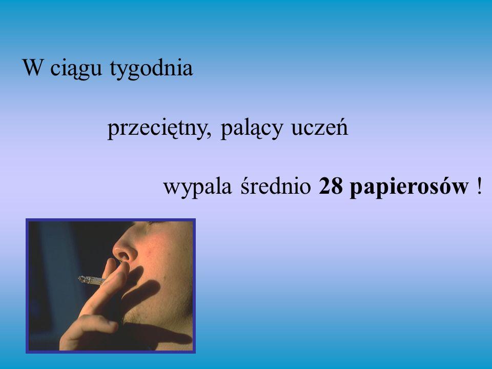 W ciągu tygodnia przeciętny, palący uczeń wypala średnio 28 papierosów !