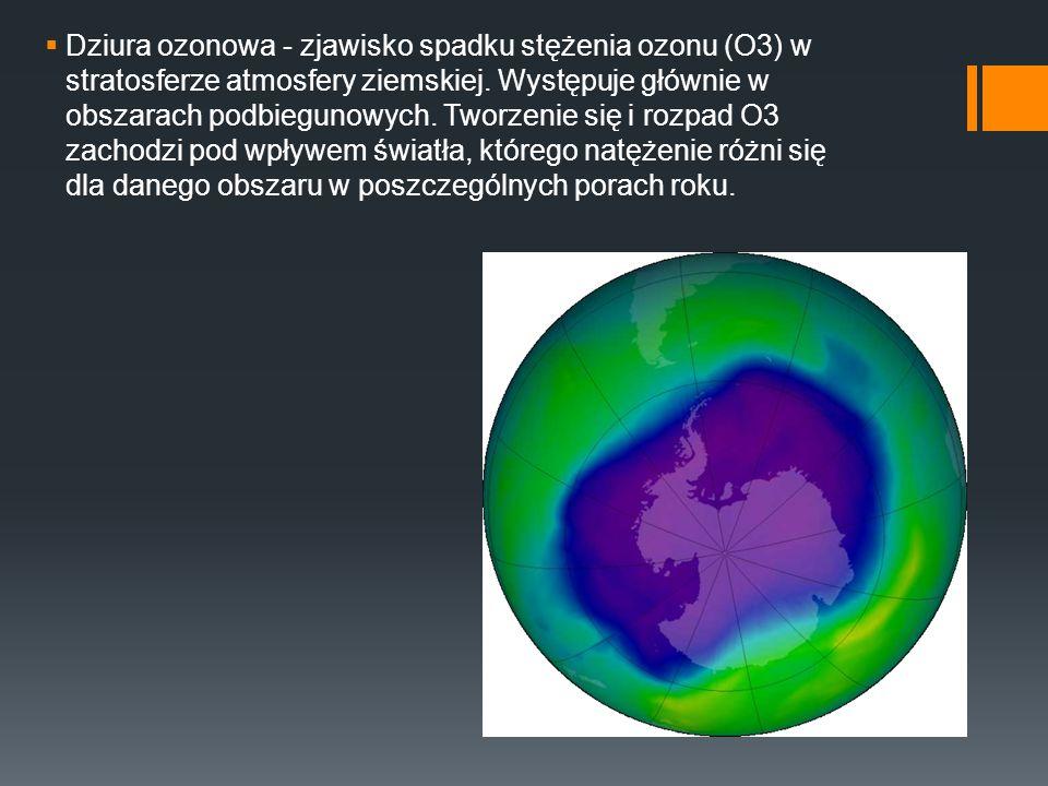 Dziura ozonowa - zjawisko spadku stężenia ozonu (O3) w stratosferze atmosfery ziemskiej.