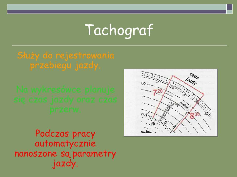 Tachograf Służy do rejestrowania przebiegu jazdy.
