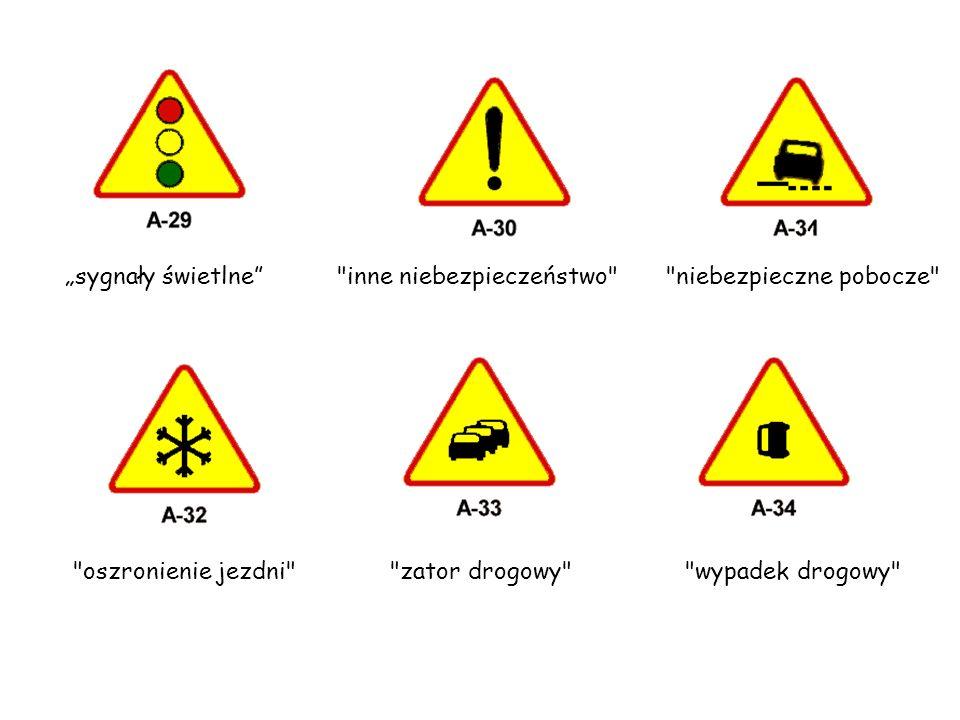 """""""sygnały świetlne inne niebezpieczeństwo niebezpieczne pobocze oszronienie jezdni zator drogowy"""