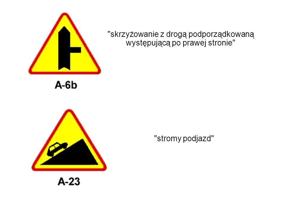 skrzyżowanie z drogą podporządkowaną występującą po prawej stronie