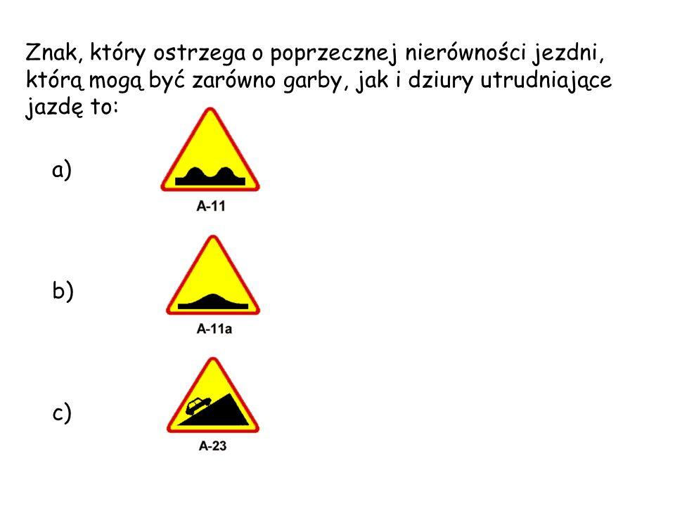 Znak, który ostrzega o poprzecznej nierówności jezdni, którą mogą być zarówno garby, jak i dziury utrudniające jazdę to: