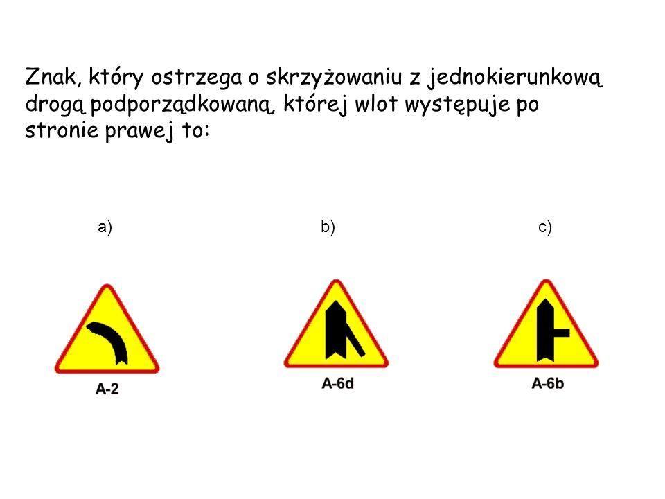 Znak, który ostrzega o skrzyżowaniu z jednokierunkową drogą podporządkowaną, której wlot występuje po stronie prawej to: