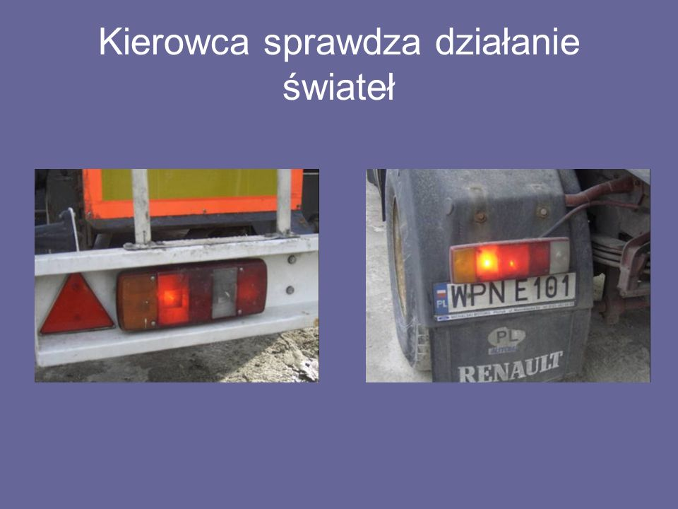 Kierowca sprawdza działanie świateł