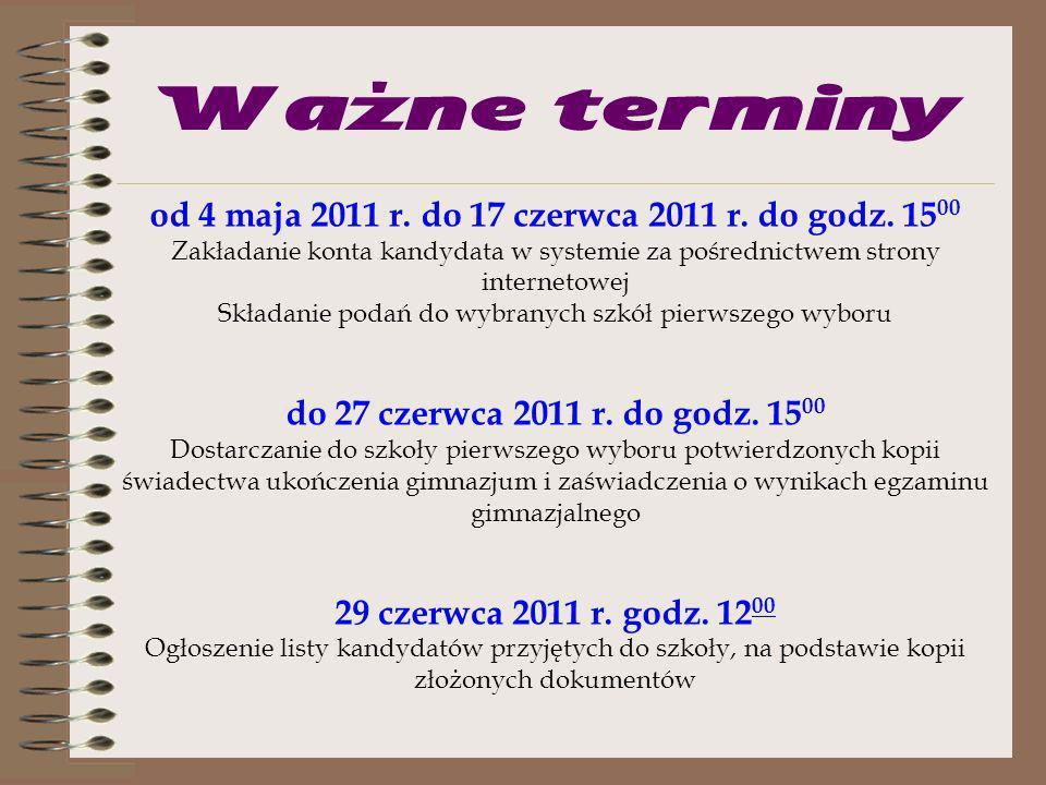 Ważne terminy od 4 maja 2011 r. do 17 czerwca 2011 r. do godz. 1500