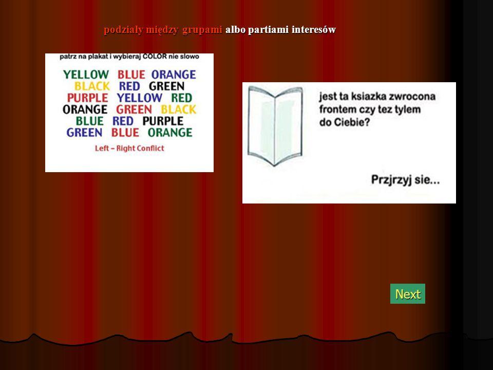podziały między grupami albo partiami interesów