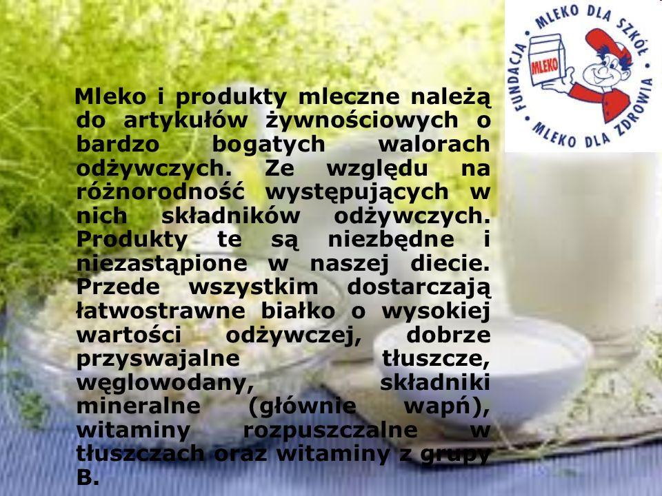 Mleko i produkty mleczne należą do artykułów żywnościowych o bardzo bogatych walorach odżywczych.